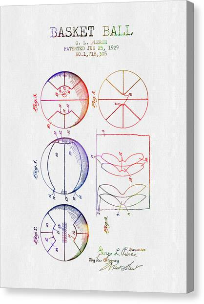 Slam Dunk Canvas Print - 1929 Basket Ball Patent - Color by Aged Pixel