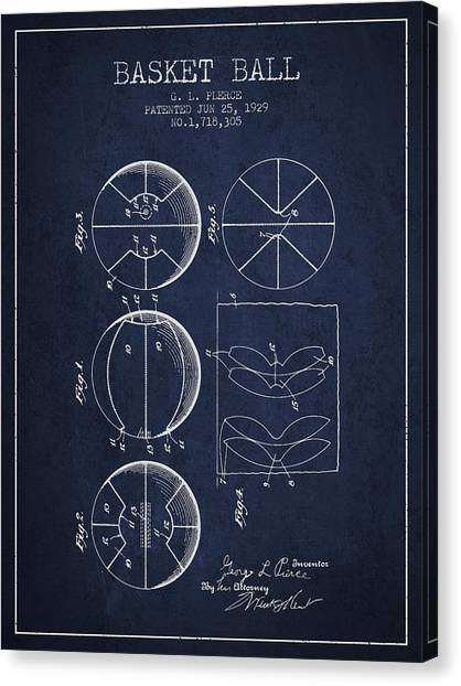 Basketball Players Canvas Print - 1929 Basket Ball Patent - Navy Blue by Aged Pixel
