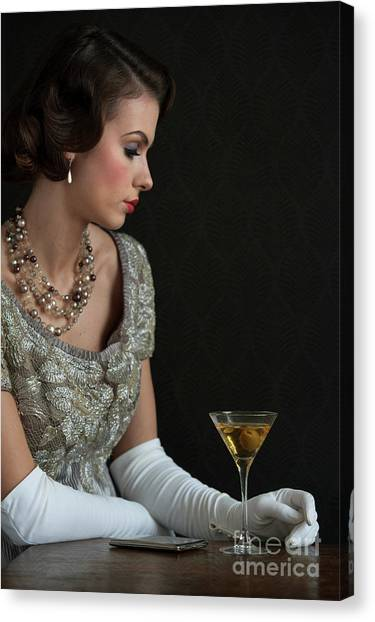 1930s Woman With A Cocktail Glass Canvas Print