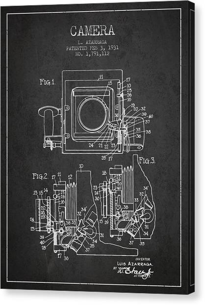 Vintage Camera Canvas Print - 1931 Camera Patent - Charcoal by Aged Pixel