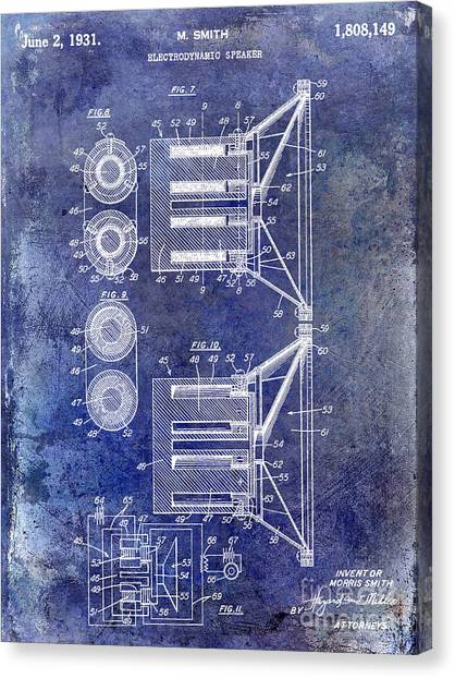 Speakers Canvas Print - 1931 Speaker Patent Drawing Blue by Jon Neidert