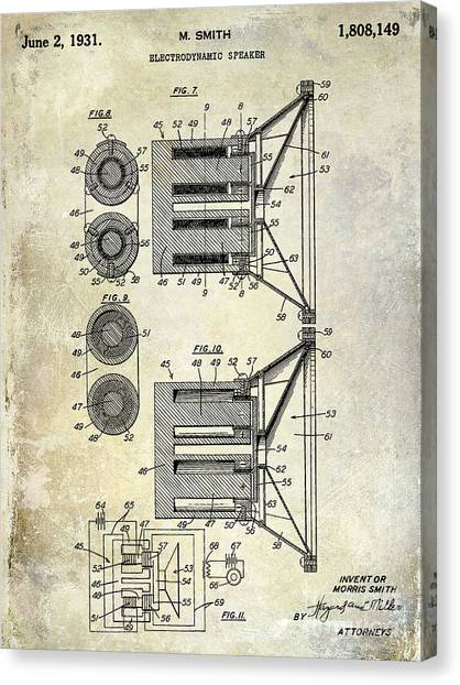 Speakers Canvas Print - 1931 Speaker Patent Drawing  by Jon Neidert