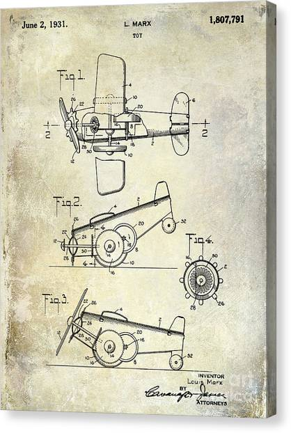 Toy Airplanes Canvas Print - 1931 Toy Airplane Patent by Jon Neidert