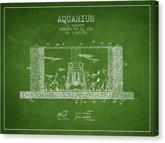 Fish Tanks Canvas Print - 1932 Aquarium Patent - Green by Aged Pixel