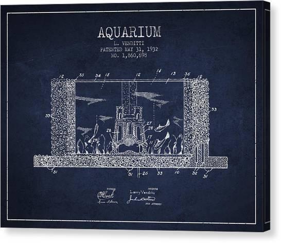 Fish Tanks Canvas Print - 1932 Aquarium Patent - Navy Blue by Aged Pixel