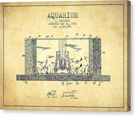 Fish Tanks Canvas Print - 1932 Aquarium Patent - Vintage by Aged Pixel