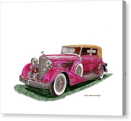 Canvas Print - 1932 Cadillac All Weather Phaeton V 16 by Jack Pumphrey