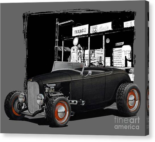 1932 Ford Canvas Print - 1932 Ford At Gas Station by Paul Kuras