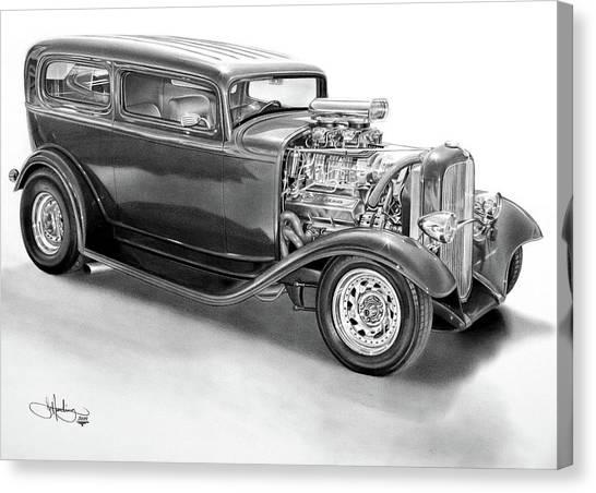 Classic Car Drawings Canvas Print - 1932 Ford Tudor Drawing by John Harding
