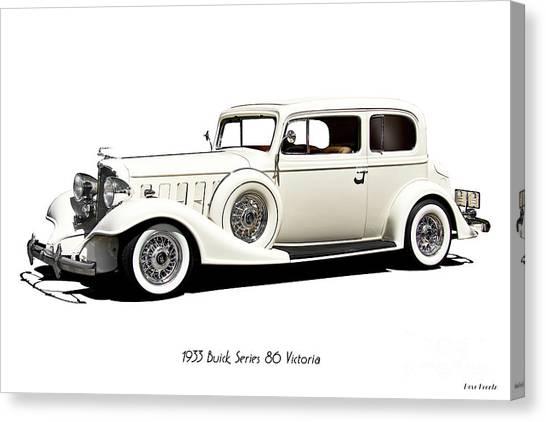 Automotive Art Series Canvas Print - 1933 Buick Series 86 Victoria 'white Studio' II by Dave Koontz