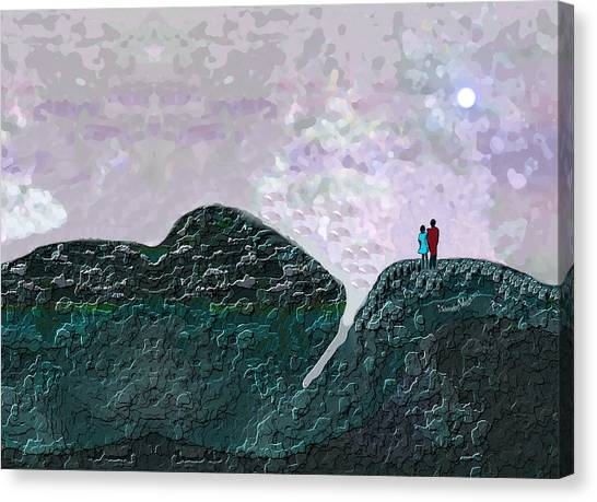 Under The Moon Canvas Print - 2468 Under The Full Moon A by Irmgard Schoendorf Welch