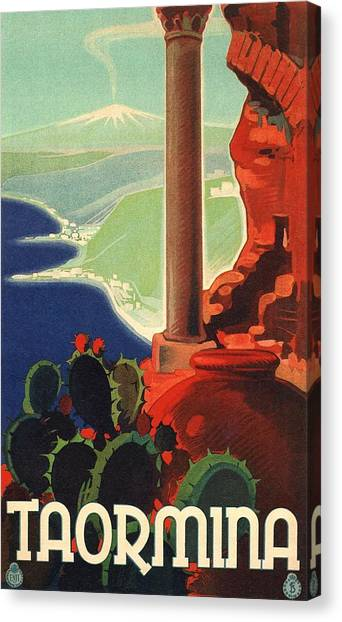 Mount Etna Canvas Print - 1933 Taormina Italy Travel Poster by Retro Graphics