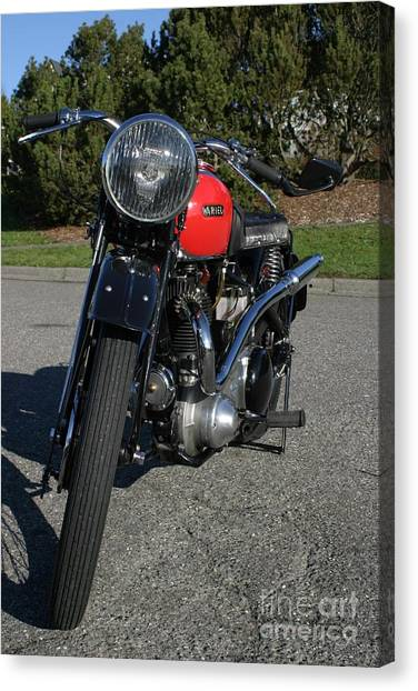 1934 Ariel Motorcycle Front View Canvas Print by Robert Torkomian
