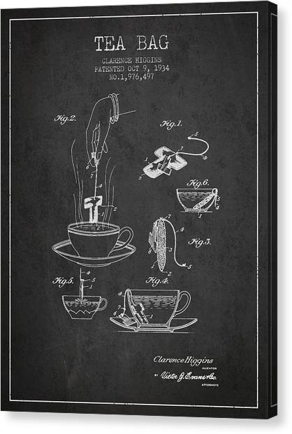 Tea Time Canvas Print - 1934 Tea Bag Patent - Charcoal by Aged Pixel
