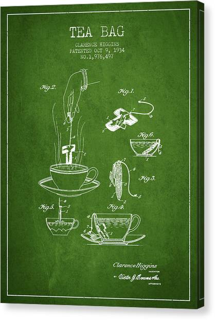 Tea Time Canvas Print - 1934 Tea Bag Patent - Green by Aged Pixel