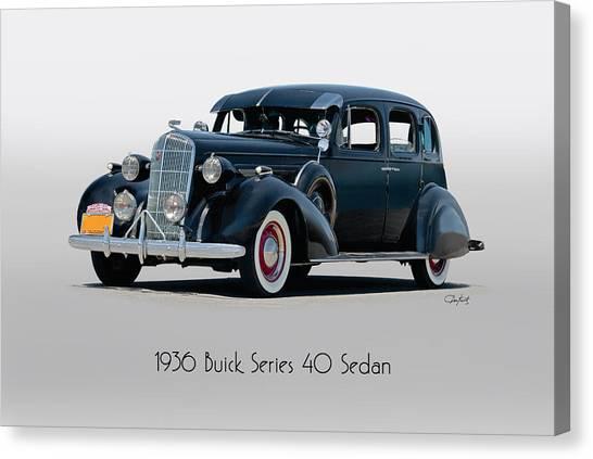 Automotive Art Series Canvas Print - 1936 Buick Series 40 Sedan W Title by Dave Koontz