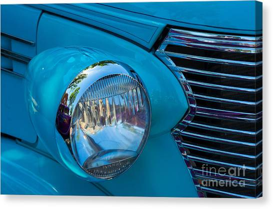 1936 Chevy Coupe Headlight And Grill Canvas Print