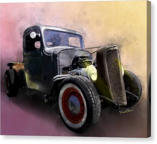 1936 Chevy Rat Rod Pickup Watercolour Canvas Print
