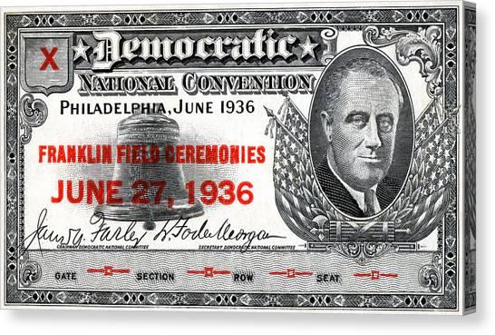 Franklin D. Roosevelt Canvas Print - 1936 Democrat National Convention Ticket by Historic Image