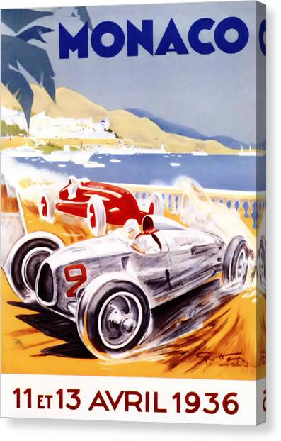 Formula 1 Canvas Print - 1936 F1 Monaco Grand Prix  by Georgia Fowler