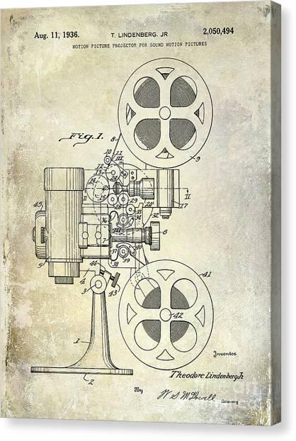Vintage Camera Canvas Print - 1936 Movie Projector Patent by Jon Neidert
