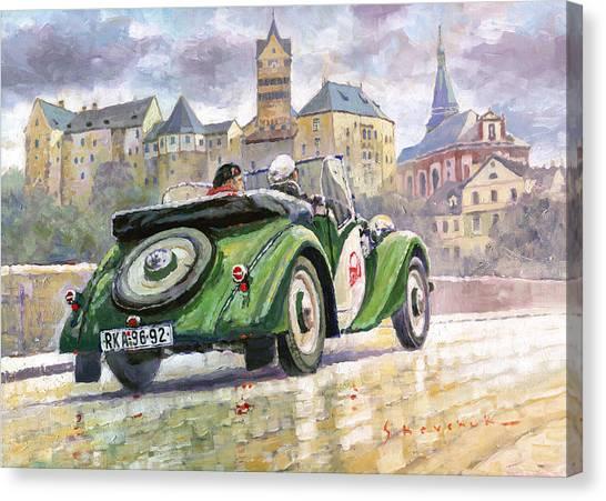 Soccer Leagues Canvas Print - 1936 Praga Baby Roadster And Loket Kastle by Yuriy Shevchuk