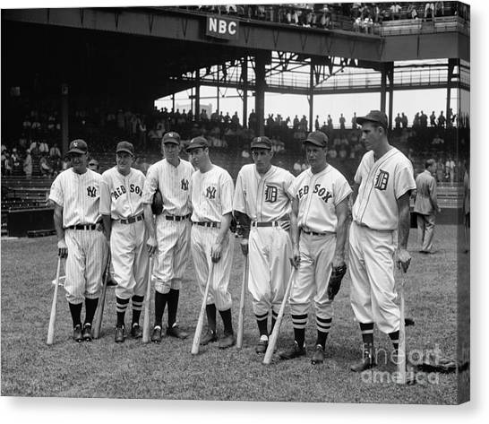 Joe Dimaggio Canvas Print - 1937 All Star Baseball Players by Jon Neidert