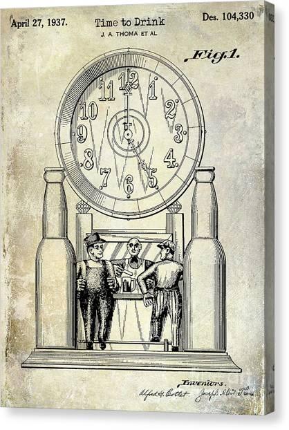 Craft Beer Canvas Print - 1937 Beer Clock Patent by Jon Neidert