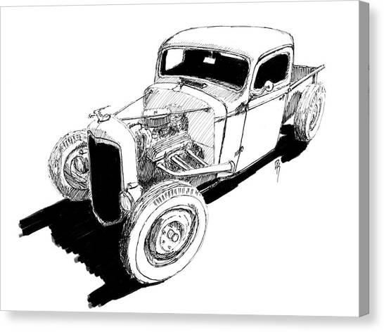1937 chevy pickup canvas prints fine art america 1939 Chevy Truck 1937 chevy pickup canvas print 1937 chevy bobber truck hot rod ink dwg by david
