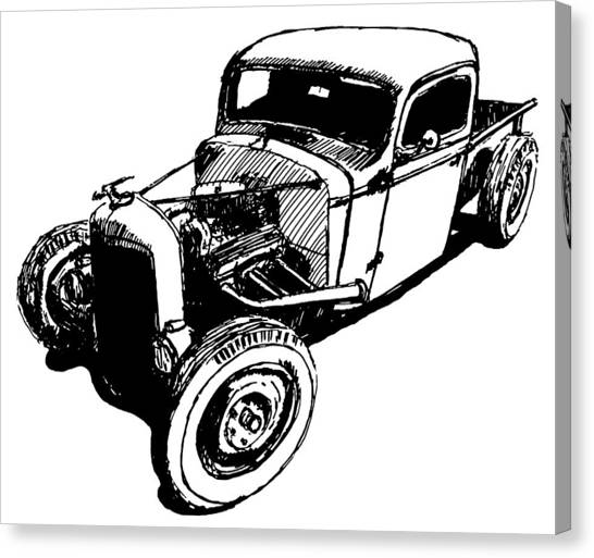 1937 Chevy Bobber Truck Hot Rod Tee Canvas Print by David King