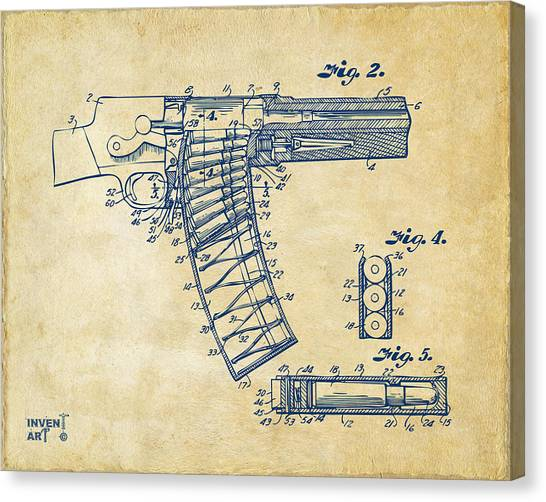 X Ray Canvas Print - 1937 Police Remington Model 8 Magazine Patent Minimal - Vintage by Nikki Marie Smith