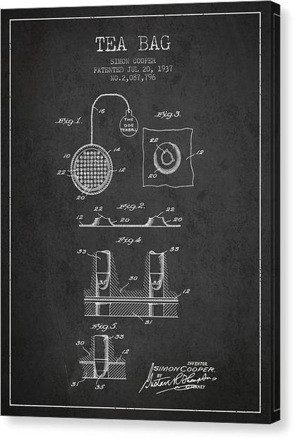 Tea Time Canvas Print - 1937 Tea Bag Patent - Charcoal by Aged Pixel