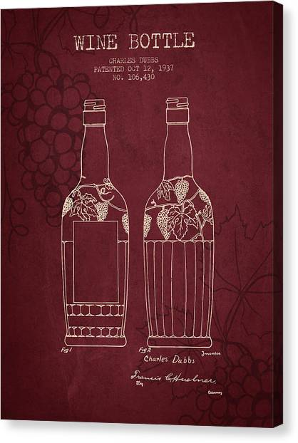 Cider Canvas Print - 1937 Wine Bottle Patent - Red Wine by Aged Pixel