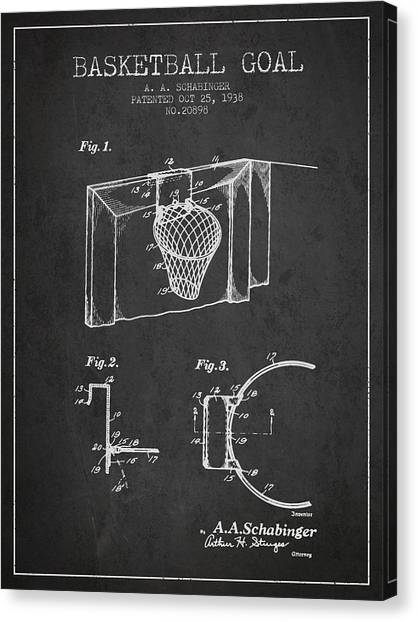 Slam Dunk Canvas Print - 1938 Basketball Goal Patent - Charcoal by Aged Pixel