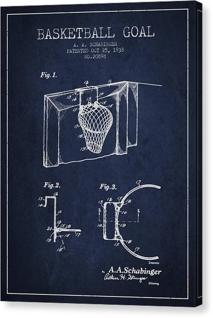 Slam Dunk Canvas Print - 1938 Basketball Goal Patent - Navy Blue by Aged Pixel