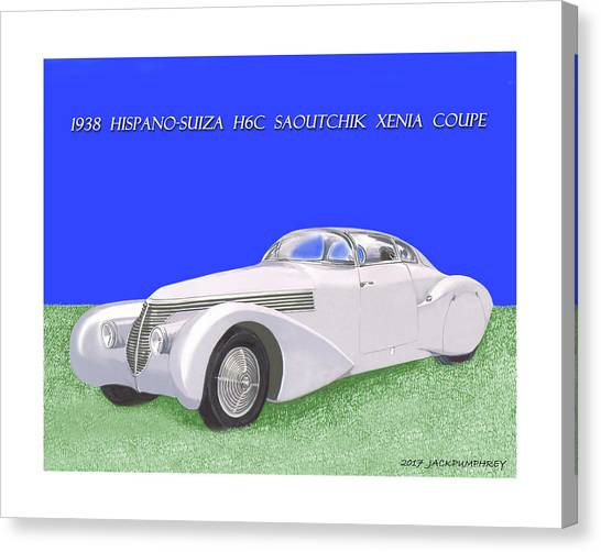 Canvas Print - 1938 Hispano Suiza H6c Saoutchik Xenia Coupe by Jack Pumphrey