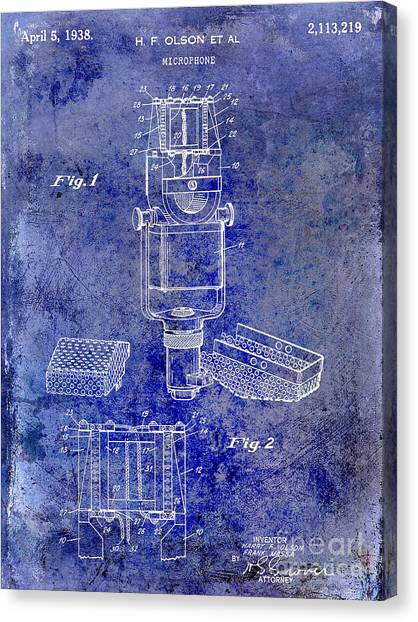 Microphones Canvas Print - 1938 Microphone Patent Drawing Blue by Jon Neidert