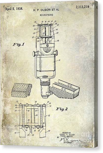 Microphones Canvas Print - 1938 Microphone Patent Drawing by Jon Neidert