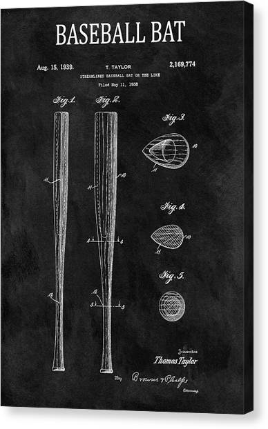 Espn Canvas Print - 1939 Baseball Bat Illustration by Dan Sproul