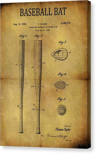 Espn Canvas Print - 1939 Baseball Bat Patent by Dan Sproul