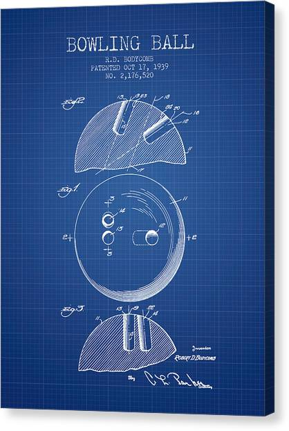 Bowling Alley Canvas Print - 1939 Bowling Ball Patent - Blueprint by Aged Pixel