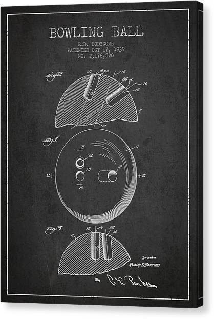 Bowling Alley Canvas Print - 1939 Bowling Ball Patent - Charcoal by Aged Pixel