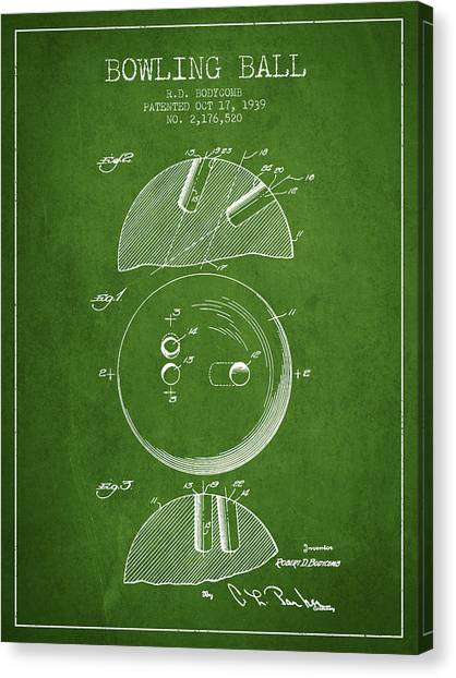 Bowling Alley Canvas Print - 1939 Bowling Ball Patent - Green by Aged Pixel