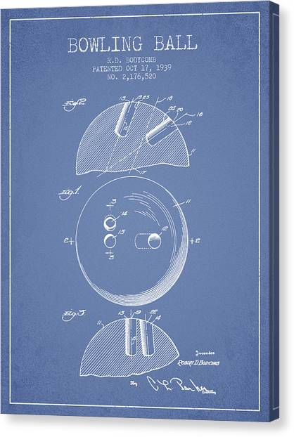 Bowling Alley Canvas Print - 1939 Bowling Ball Patent - Light Blue by Aged Pixel