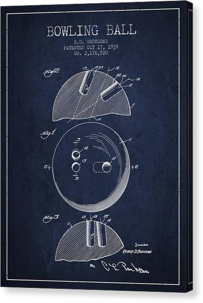 Bowling Alley Canvas Print - 1939 Bowling Ball Patent - Navy Blue by Aged Pixel