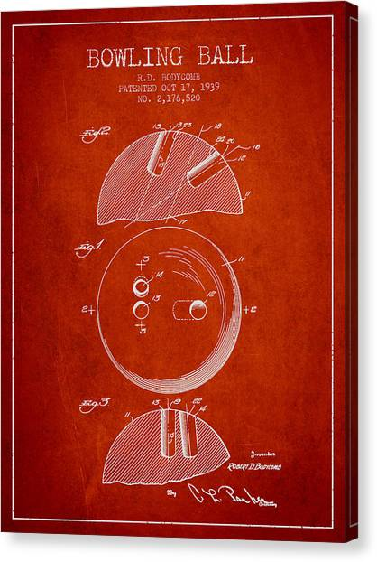 Bowling Alley Canvas Print - 1939 Bowling Ball Patent - Red by Aged Pixel