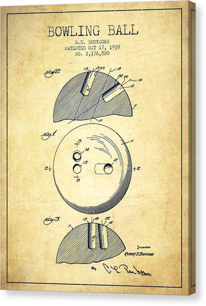 Bowling Alley Canvas Print - 1939 Bowling Ball Patent - Vintage by Aged Pixel