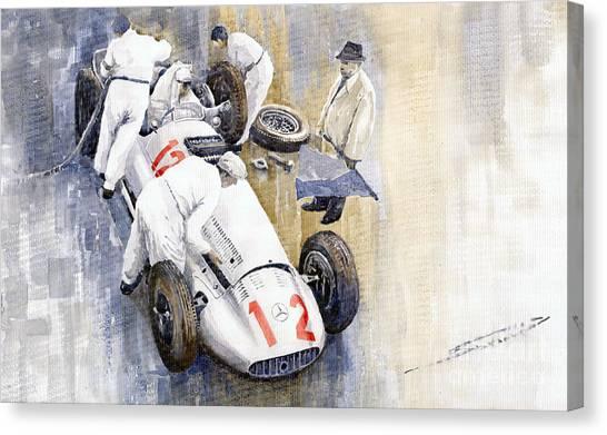 Race Cars Canvas Print - 1939 German Gp Mb W154 Rudolf Caracciola Winner by Yuriy Shevchuk