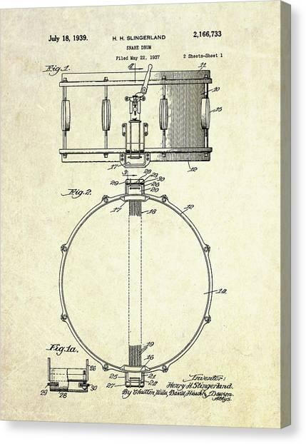 Snares Canvas Print - 1939 Slingerland Snare Drum Patent S1 by Gary Bodnar