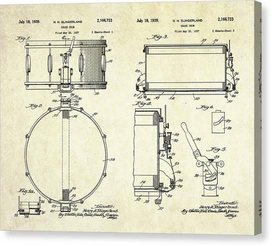Snares Canvas Print - 1939 Slingerland Snare Drum Patent Sheets by Gary Bodnar